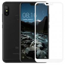 Защитное стекло с рамками для Xiaomi Mi A2 Lite / Redmi 6 Pro (Белое/White)